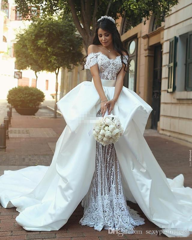 Retro Lace Garden Wedding Dresses 2018 Off The Shoulder Bridal Gowns With Satin Overskirts Sweep Train Saudi Arabia Wedding Vestidos