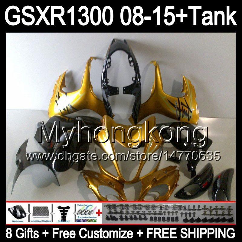 8gifts For SUZUKI Hayabusa GSXR1300 2008 2009 2010 2011 gloss gold 14MY46 GSXR-1300 GSX R1300 GSXR 1300 2012 2013 2014 2015 black Fairing