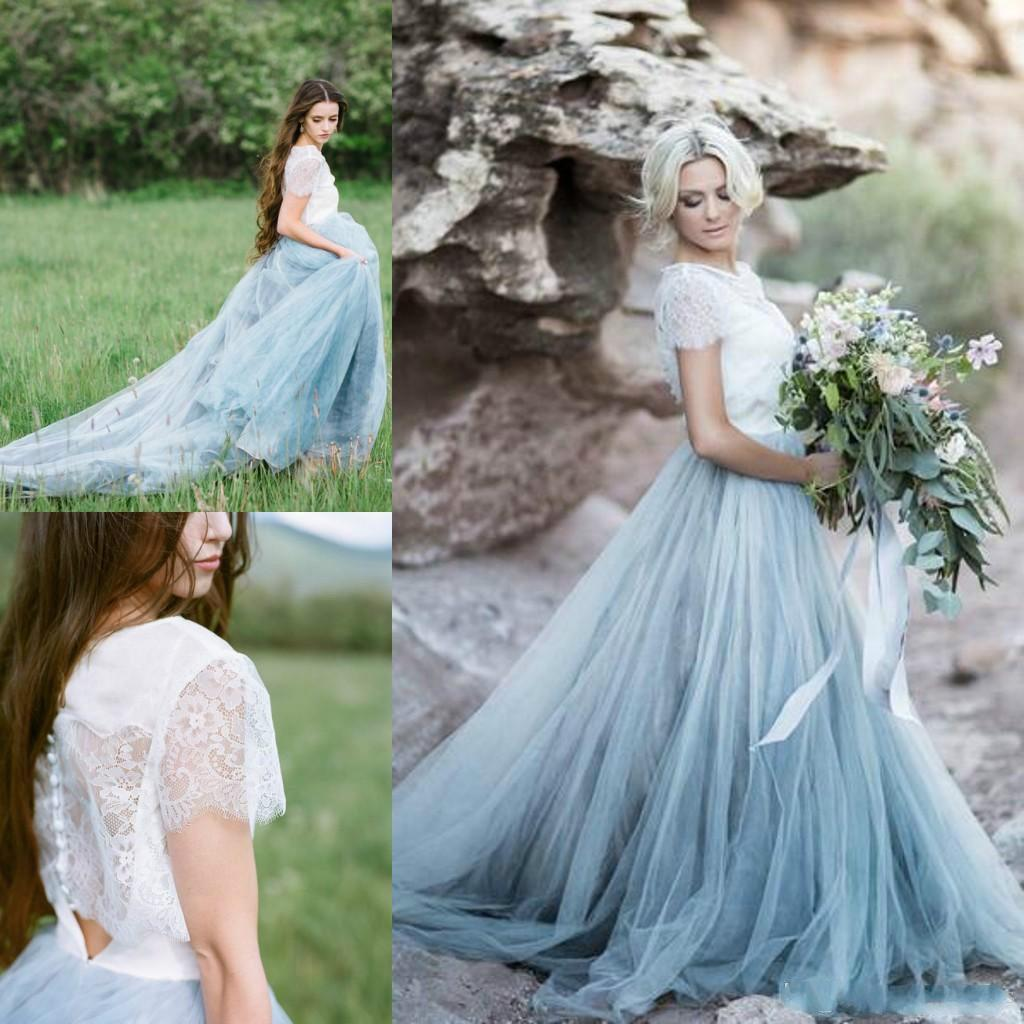 2017 New Arrival Sky Blue Autumn Wedding Dress Sheer Neck Short ...