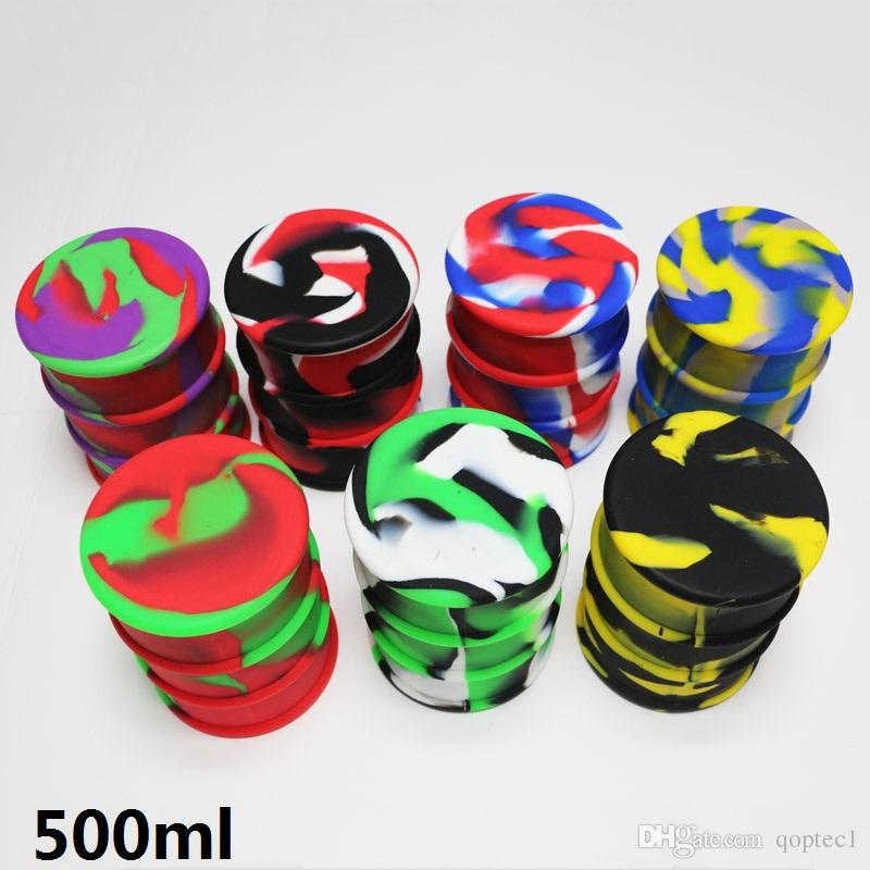 500ml Large bho oil barrel vape dab wax silicone jar non-stick butane hash oil silicone container with silicone lid