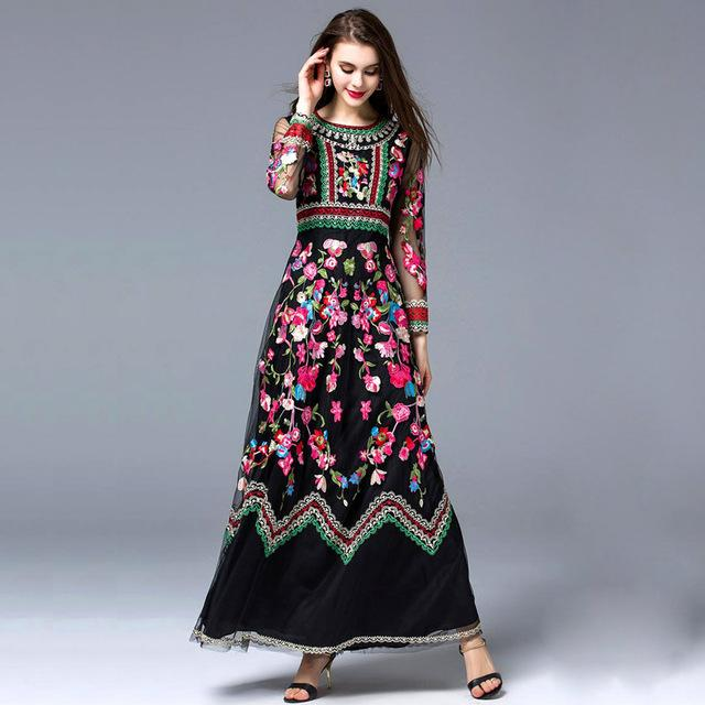 99db7cae593 High Quality New Arrival 2017 Autumn Women s O Neck Long Sleeves Embroidery  Designer Elegant Maxi Runway Dresses in 2 Colors