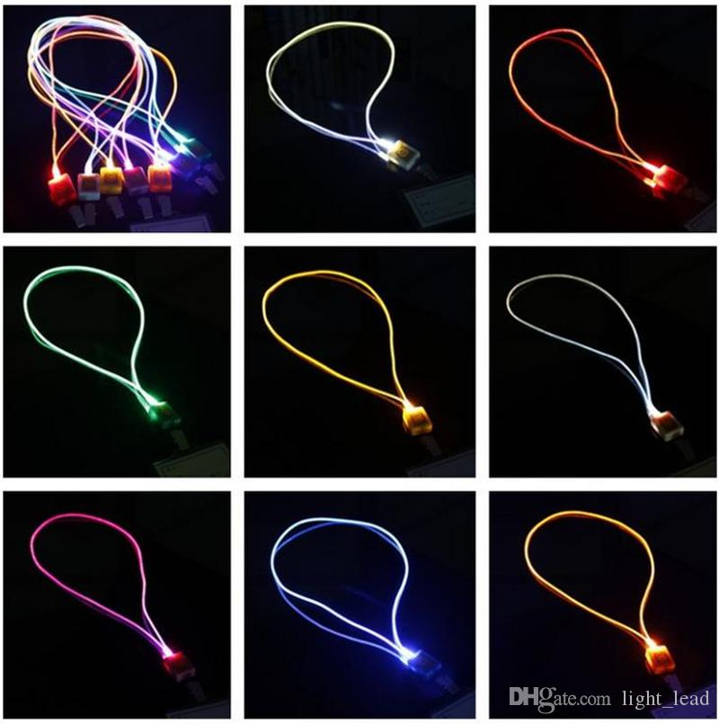 Luminoso LED Cordino Novità Illuminazione LED Fibra ottica Luminosa Cordino Carta di lavoro Corda appesa Luce Sorriso Faccia LED Cordino + Card
