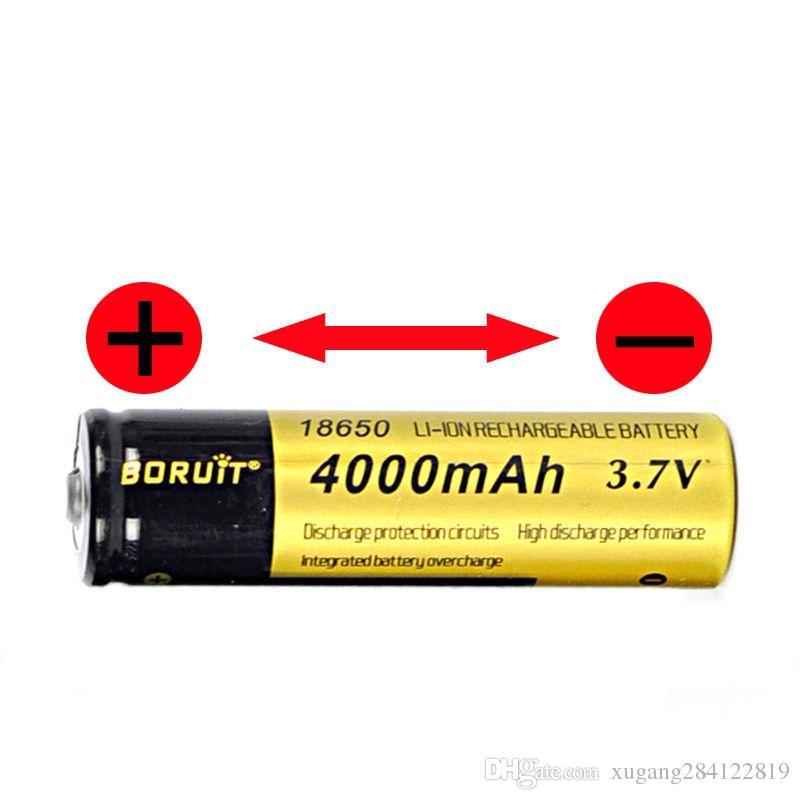4 X BORUiT 18650 3.7V 4000mAh Rechargeable Li-ion Battery+US/EU/AU Plug i4 Charger For headlamp Flashlight Torch