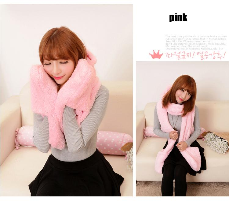 South Korea thickened double-decker scarf hat gloves three in one warm hooded scarf lady autumn and winter