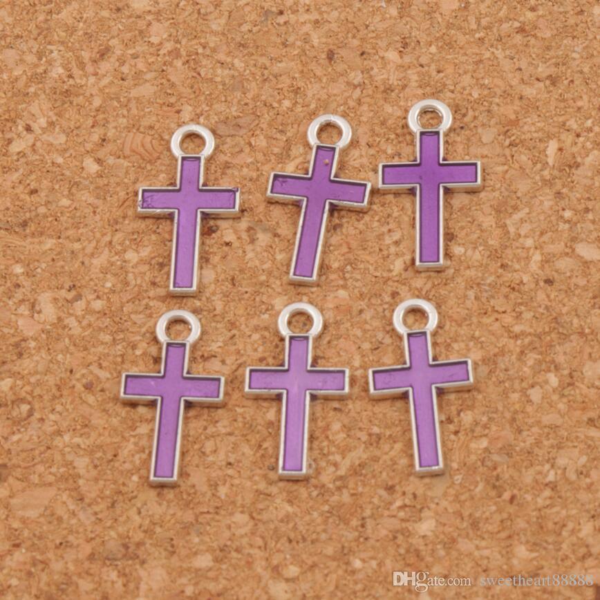 Silber Emaille Kreuz Legierung Bezaubert 400 teile / los Anhänger 7 Farben 8x15mm Modeschmuck DIY Fit Armbänder Halskette Ohrringe L435