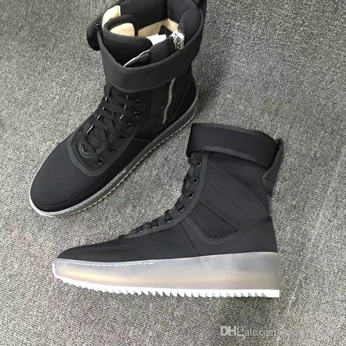 Peur de Dieu Sneaker militaire sans boîte 2016 Black Gum Numbuck Brouillard Made In Italy bottes militaires haute rue bottes bottes d'hiver taille 39-45