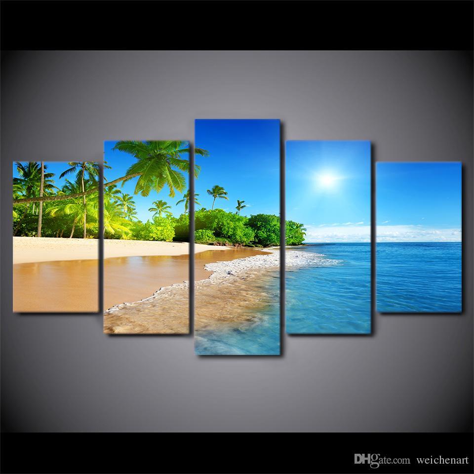 5 Paneli HD Baskılı Çerçeveli Plaj Sunshine Palmiye Ağaçları Modern Ev Dekorasyonu Tuval Sanat Duvar Resimleri Boyama