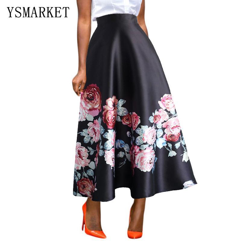 2017 Women Skirt Spring 2017 Black African Floral Print Maxi Skirt ...