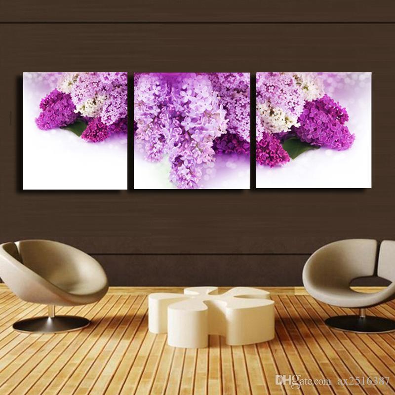 Compre 3 Unids / Set Flores De Color Púrpura Impresión De La Lona ...