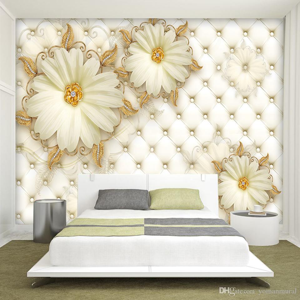 Custom Advanced Photo Wallpaper Modern 3D Fresco 3d Luxury Gold Flowers For Warm Living Room