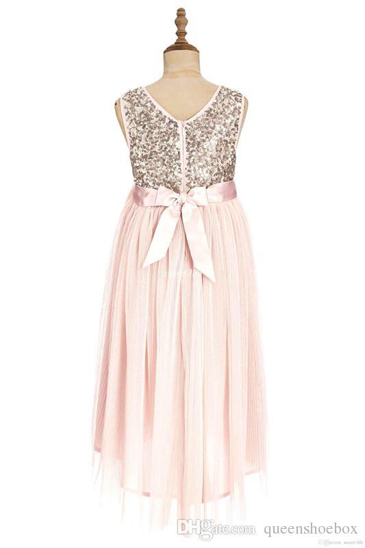 2017 Blush Flower Girls Dresses Gold Sequins Hand Made Flower Sash Tea Length Tulle Jewel A Line Kids Formal Dress Junior Bridesmaid Dress
