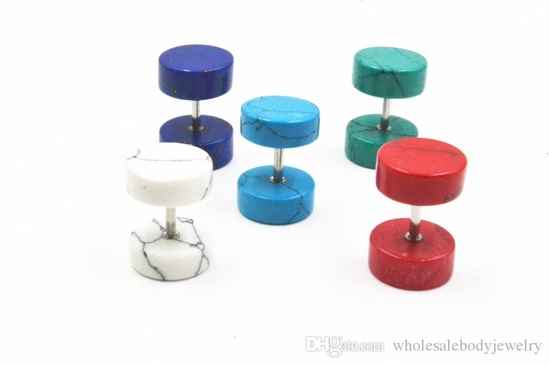 LOTBody Jewelry - Stone Fake Ear Plugs Illusion Ear Tapers Cheater Ear Tunnels Ear Studs/Earring 8mm and 10mm