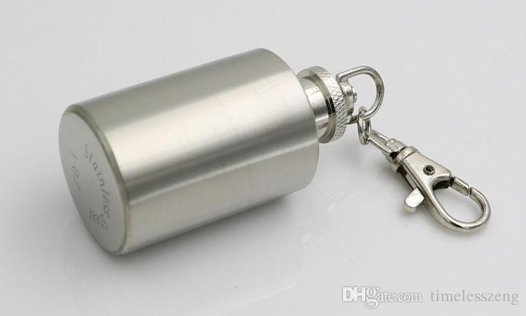 Mini Portable Cylindrical Small Wine Pot Bottle With 1oz 304 Stainless Steel Flagon Hip Flask With Keychain