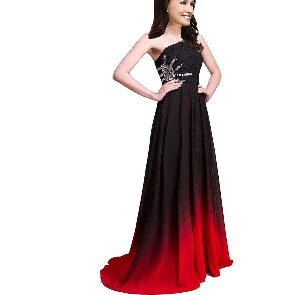2017 Yeni Degrade Uzun Bir Çizgi Şifon Balo Abiye Kadınlar Örgün Önlükler Kat-Uzunluk Parti Kıyafeti QC441