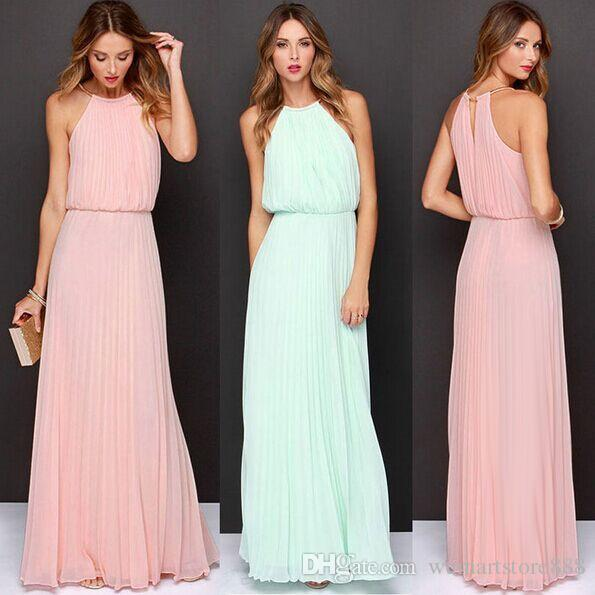01348607af2acb Hot Women Ladies Solid Chiffon Dress Sleeveless Halter Pleated Backless Dresses  Maxi Boho Summer Long Evening Cocktail Party Vestidos Cocktail Dress  Evening ...