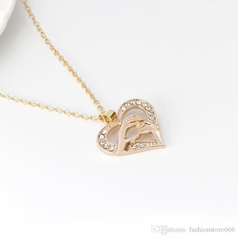 Mother And Child Pendant Gift For Mom Charm Necklace Hand Heart Love Mom Family Crystal Necklace Jewelry