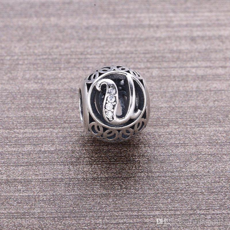 Avrupa Moda Gümüş Boncuk Harf U açacağı Temizle Kristal Gerçek 925 Gümüş Boncuk Charms Fit DIY Bilezikler Yılan Zincir Takı