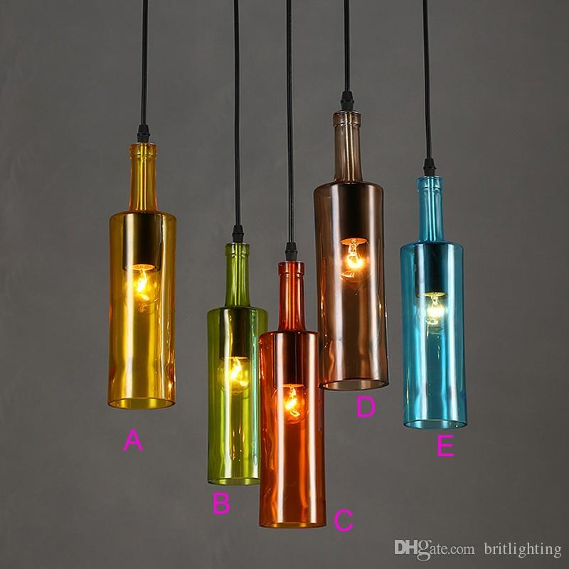 American creative personality color glass bottle light cafe bar wine american creative personality color glass bottle light cafe bar wine bottle decorative glass clothing store bar coffee shop ktv pendant lamp hanging aloadofball