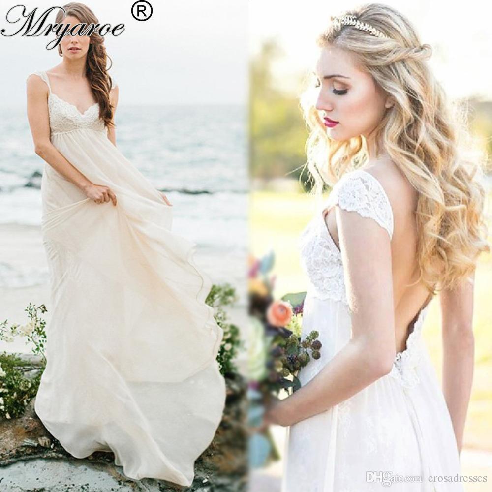 Discount Sexy Beach Wedding Dresses Lace Chiffon Backless Boho ...