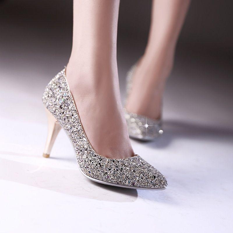 Luxury Fashion Sexy Nightclub High Heels Women Pumps Stiletto Thin Heel  Shallow Mouth Pointed Toe Sequined Bridal Shoes Wedding Single Shoe White  Mountain ... b8cc36b56521