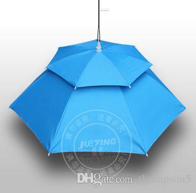 360도 모든 라운드 전문 우산 모자 더블 레이어 야외 anti-uv 우산 뚜껑 windproof 우산 모자 fishingbug에 대 한