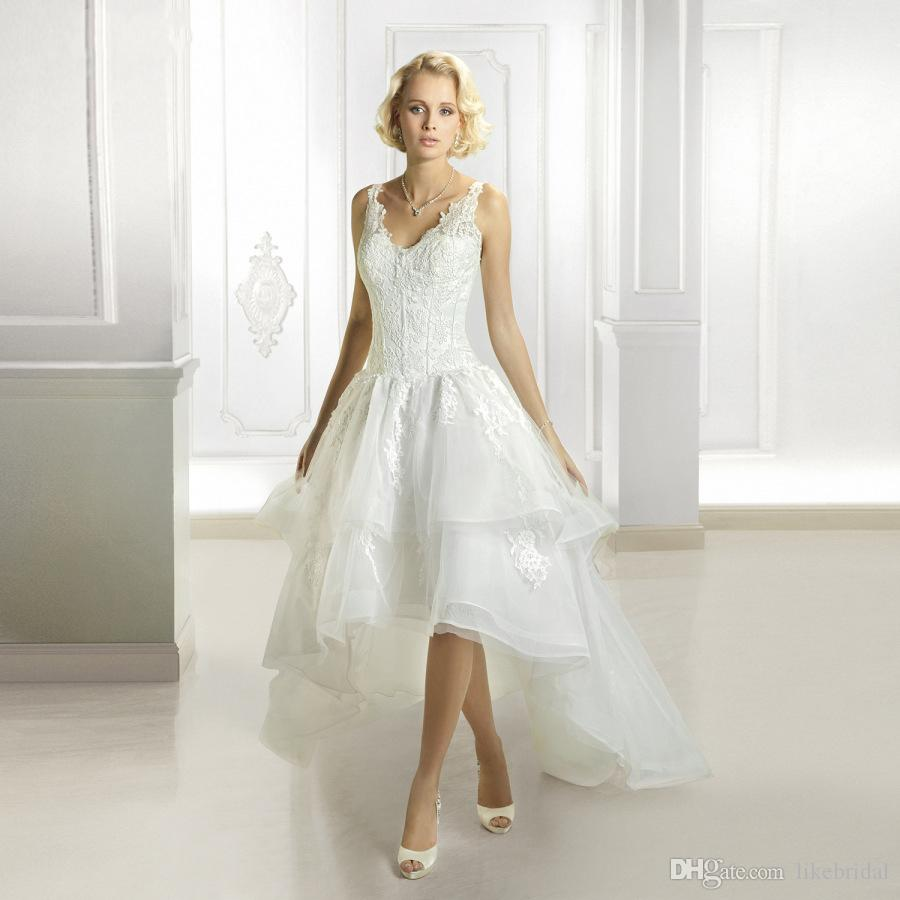 Romantic A Line V Neck Lace Bodice Backless Bridal Dress High Low Skirt Organza Wedding Gowns Short at Frotn Long Back