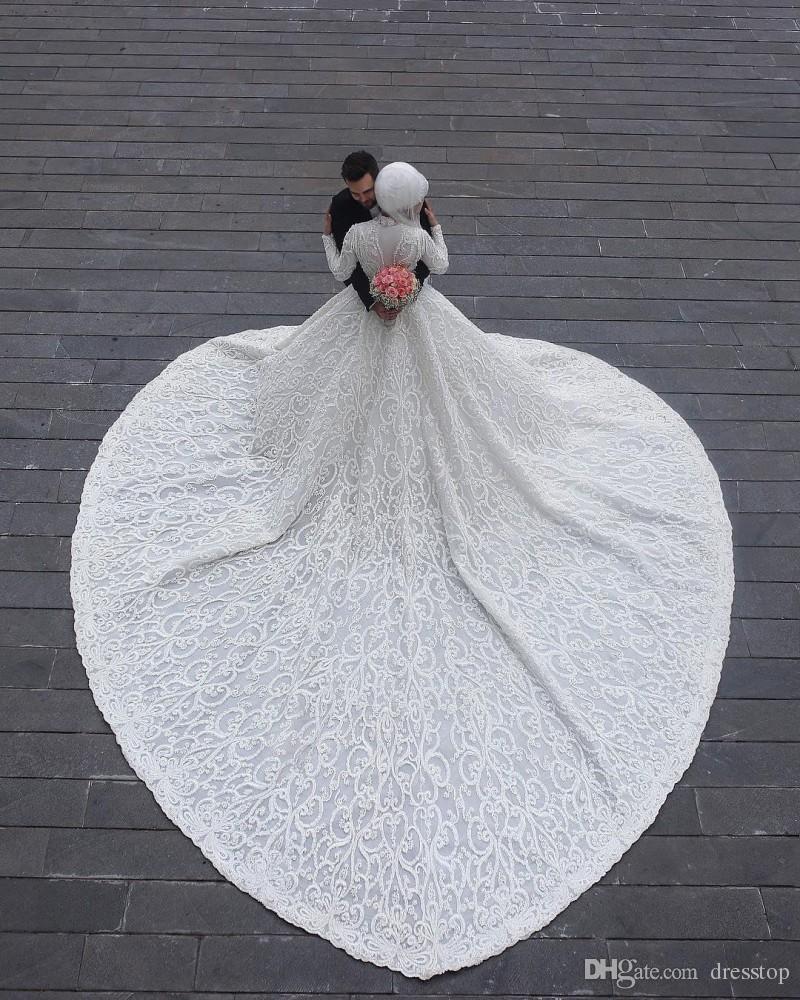 High Neck Long Sleeve Arabic Hijab Muslim Wedding Dresses 2020 Romantic Appliques Lace White Bridal Gowns Court Train abiti da sposa Custom