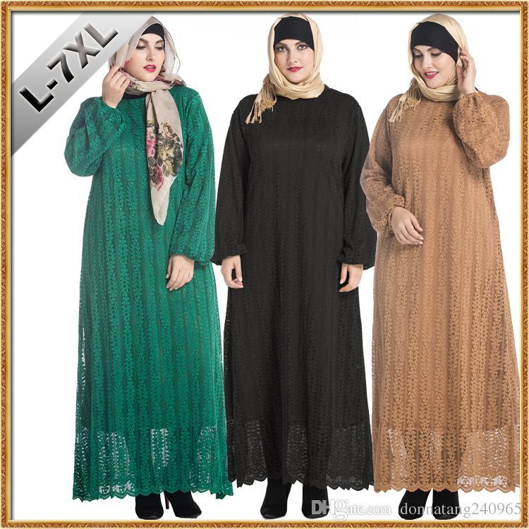 59f61ed78e0 L-7XL Full Sleeve Plus Size Women Clothing Muslim Fashion Lace Middle East Fat  Women Dress Casual Long Dresses Vestidos