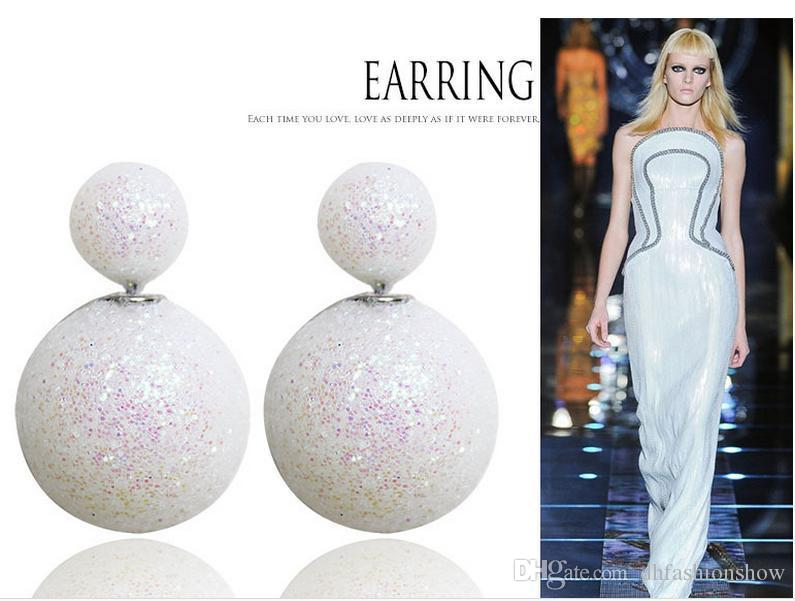 Nouvelle Arrivée Gommage Double Perle Boucles D'oreilles pour Femmes Déclaration De Mode Double Côté Boucles D'oreilles Big Ball Bijoux