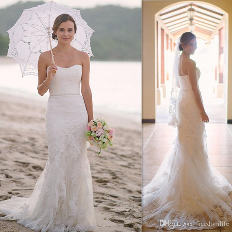 Strapless Lace Reception Dresses
