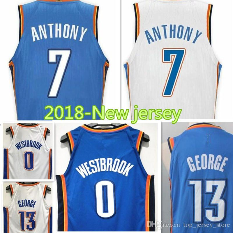 762297d5abb5 ... Basketball 8 2017 2017 18 New 7 Carmelo Anthony 0 Russell Westbrook 13  Paul George Jersey Men High ...