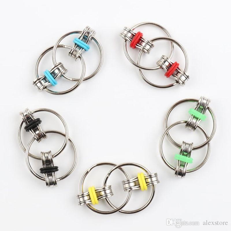 Chaveiro Fidget Fidget Spinner Gyro Mão Spinner Metal Brinquedo de Dedo Chaveiro Corrente Handspinner Brinquedos Para Reduzir Descompression Ansiedade 5 Cores