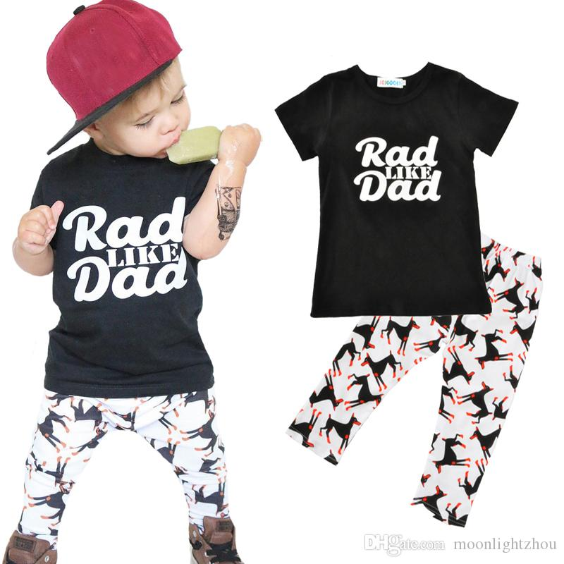 4756b67f2b806 Kids Boy Clothing Sets Summer 2017 Fashion Letter Rad Like Dad T Shirt Dog  Pants 2pcs Baby Clothing Set Cartoon Animal Boys Clothes Outfits