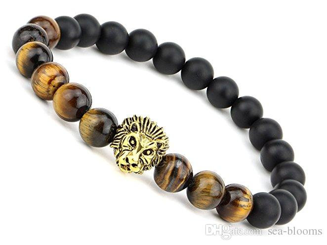 8MM Beads Lion Head Mens Matte Agate Gems Stretch Perfume Bracelet With Lion Head 2 Styles Christmas Gift Top Seller Preferred B339S