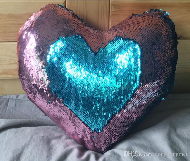 Heart Shaped Design Sequin Mermaid Pillow Case Cover Reversible Sofa