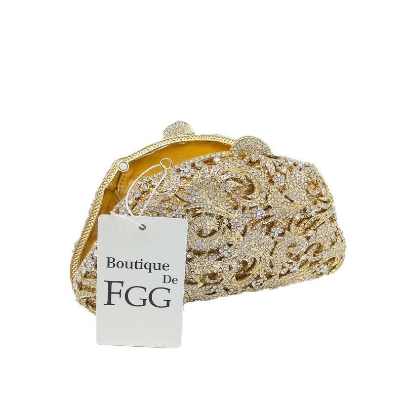 Women's Hollow Out Clear Crystal Golden Evening Clutch Bags Bridal Wedding Dress Metal Hard Case Dinner Handbags Shoulder Bag