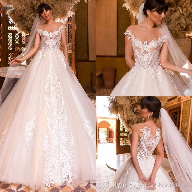 Discount Ivory Lace Ball Gown Wedding Dresses Crystal