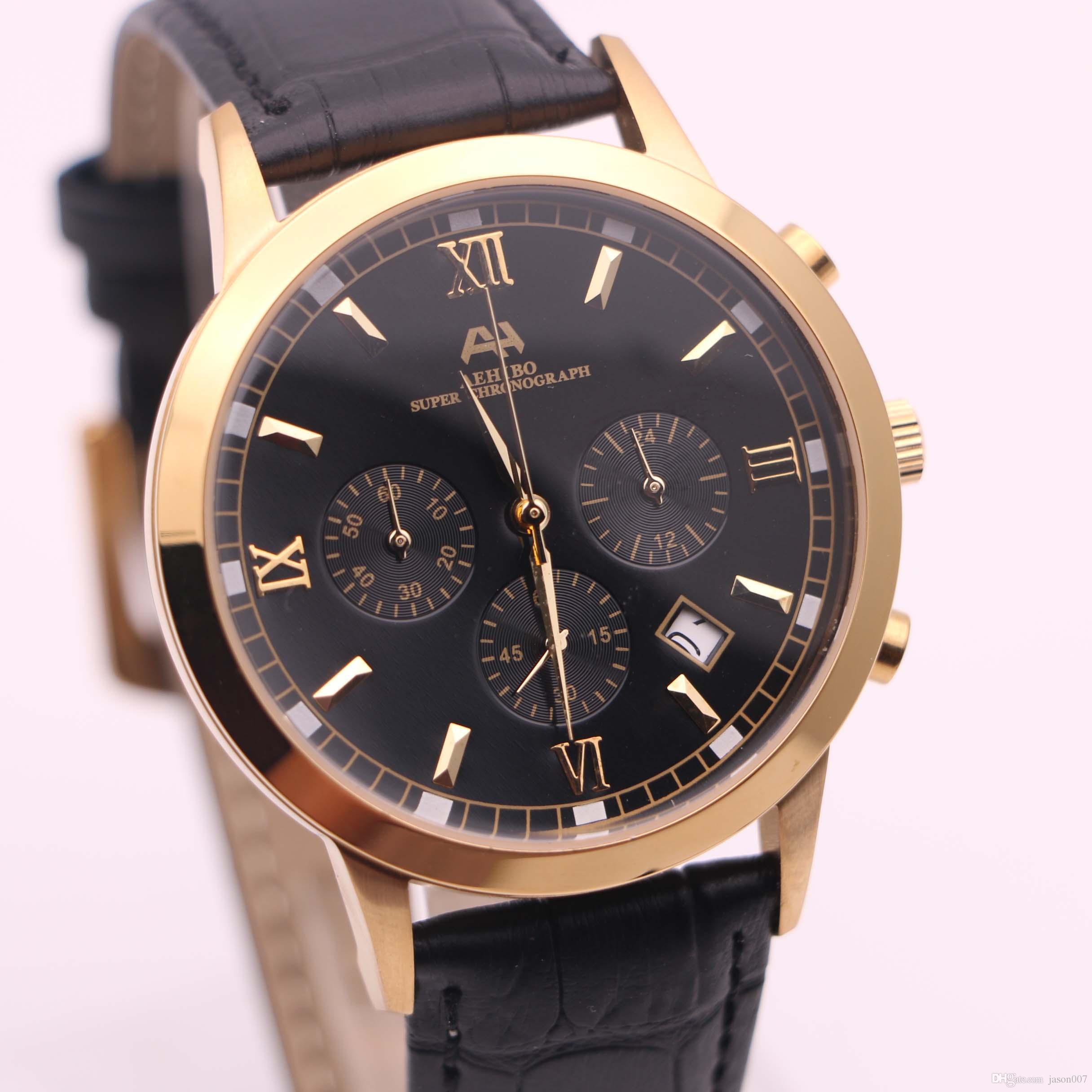 8d93e36d9637 Compre 7 Tipo 2017 Marca AEHIBO Nuevos Relojes Para Hombre Negro Esfera De  Cuero Negro Amarillo Oro Reloj De Cuarzo VK Súper Cronógrafo Reloj Relojes  De Los ...