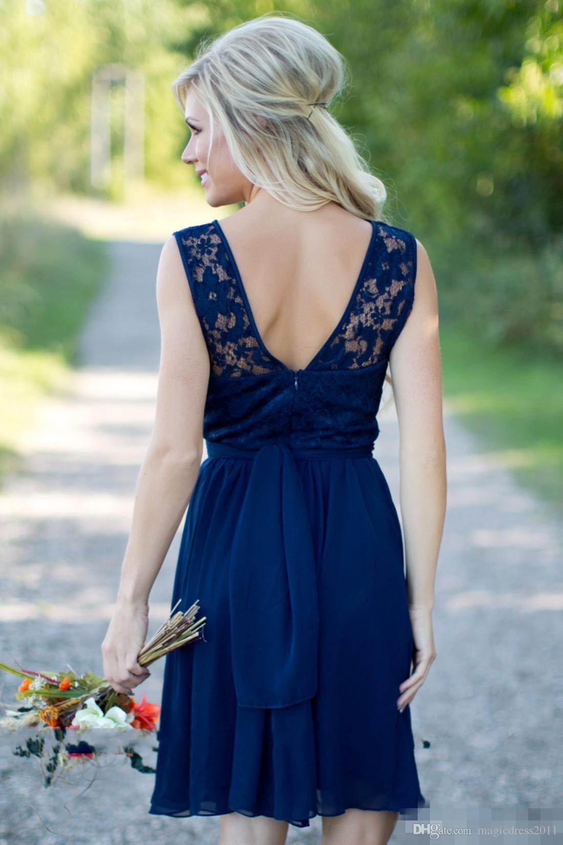 2020 Une ligne bleu royal court de demoiselle d'honneur en mousseline de soie dentelle pas cher Jewel Backless longueur au genou Pucelle Of Honor dreses Custom Made