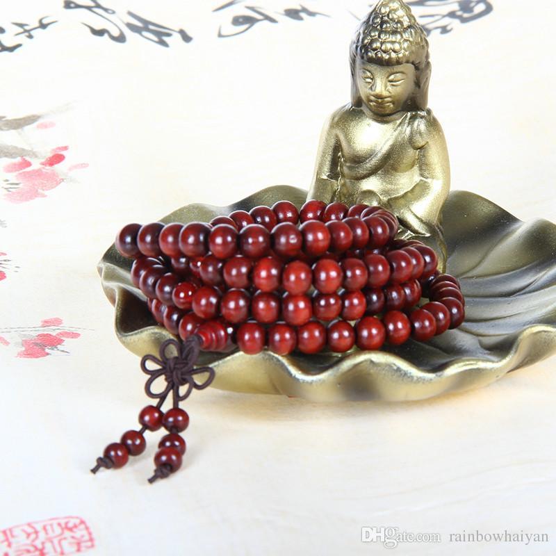 Moda Frete Grátis Mulheres Jóias Religião 8mm 108 Budista De Madeira Decoração Tibetana Contas de Oração Rosário Pulseiras E Colar