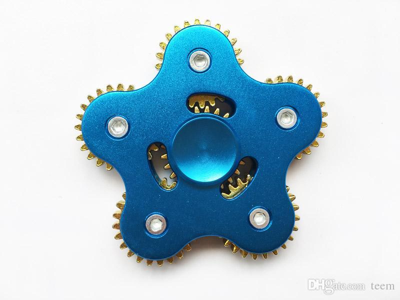 Nova chegada Fidget Spinners EDC metal Rainbow Hand Spinner Toy 5 Engrenagem Cadeia Dedo Stress Relief cinco Rodas de Engrenagem dedo Descompressão brinquedo