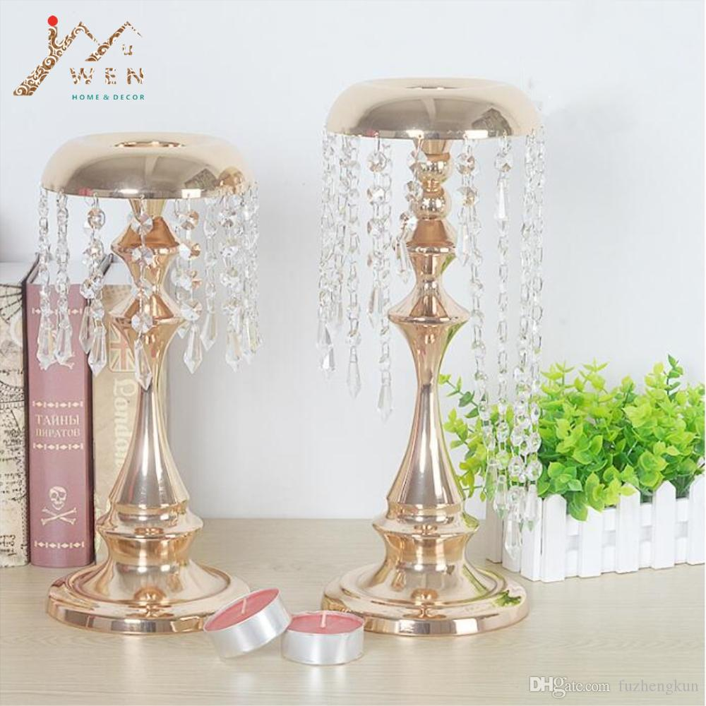 Metal Delicate Gold Plated Candle Holder With Crystals Wedding Table Candelabra Centerpiece Wind Chimes Type Decoration Candlestick
