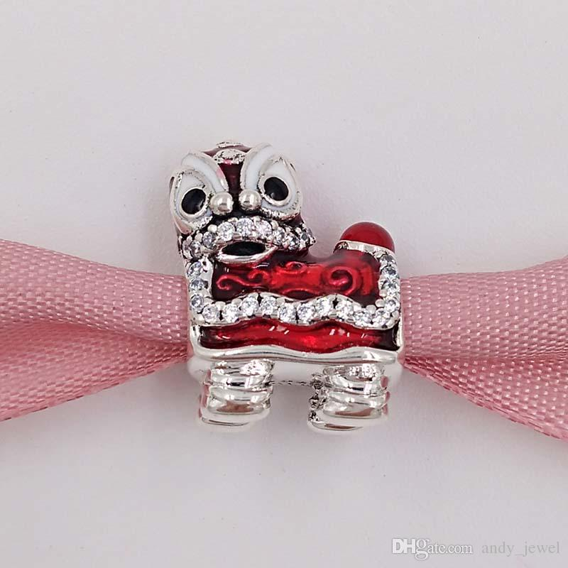 Authentic 925 Sterling Silver Beads Lion Dance Silver Charm Fits European Pandora Style Jewelry Bracelets & Necklace 792043CZ lion king gif