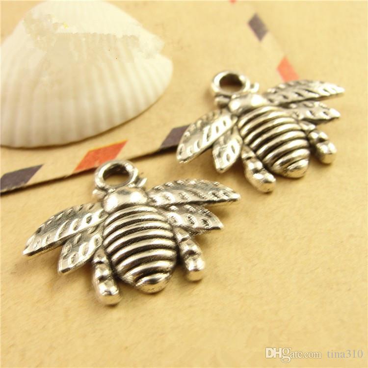 Al por mayor - Mini abeja pequeño collar colgante colgante pulsera colgante encantos de la joyería dos opciones de color 16 * 21mm hecho a mano caliente A0632