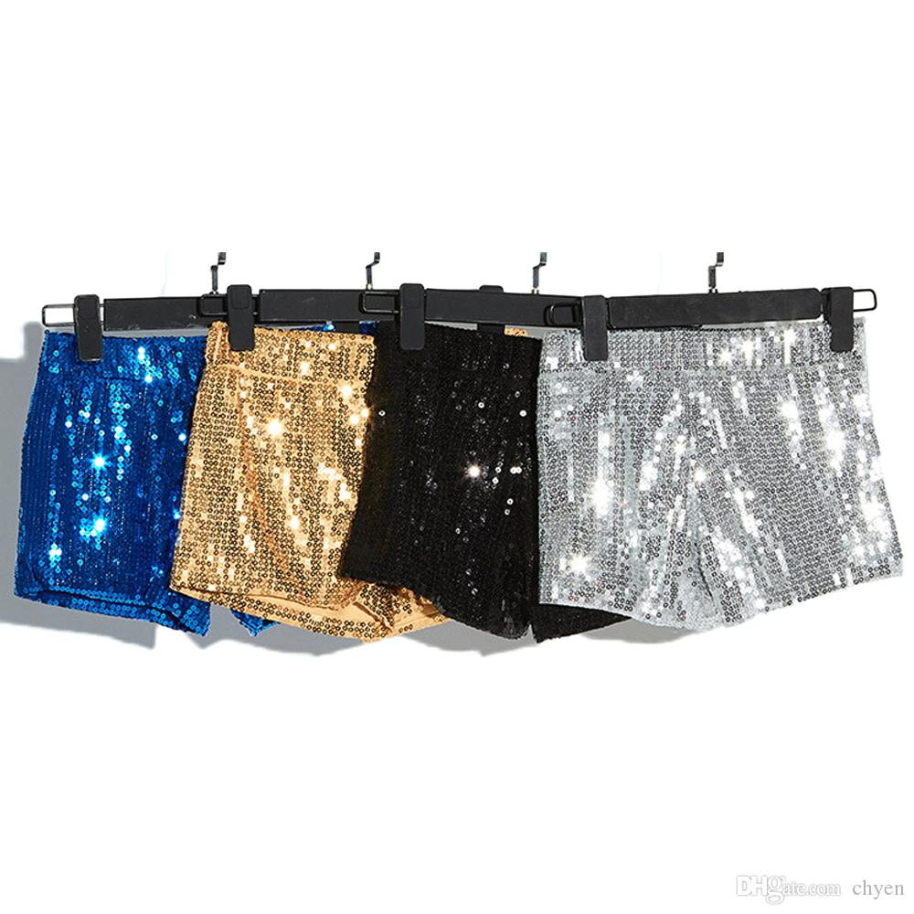 Women Summer Pantaloncini Donna Sexy Dance Shorts Mujer Black/Blue/Red/Gold/Silver Sequin Shorts Disco Elastic Waist Shorts