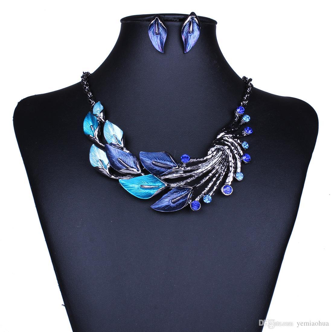 Новые женщины австрийский хрусталь эмаль ювелирные наборы цветок 4 цвета ювелирные наборы цепи ожерелье серьги наборы