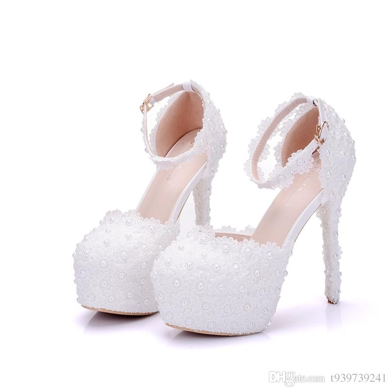 Crystal Queen White Lace Flowers Women High Heels Shoes Round Head Paltform Bridal Shoes Wedding Shoes Bow Ties Two Pieces Pumps