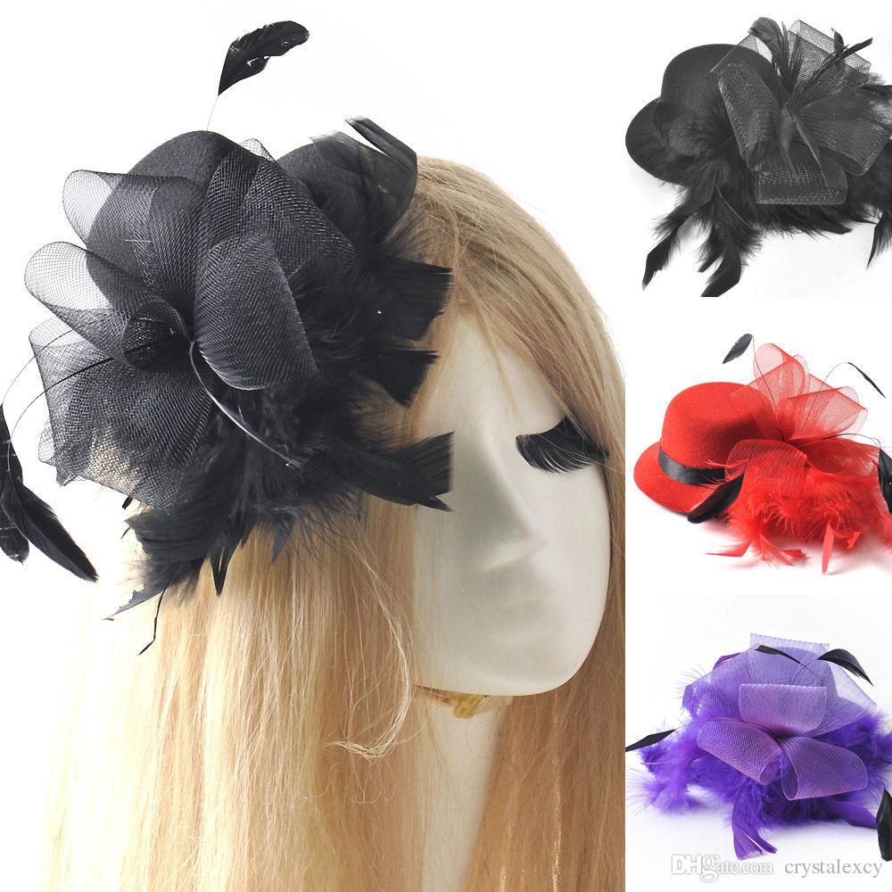 Mini Top Hat Fascinator Black Mesh /& Feathers Burlesque Hen Night Fancy Dress