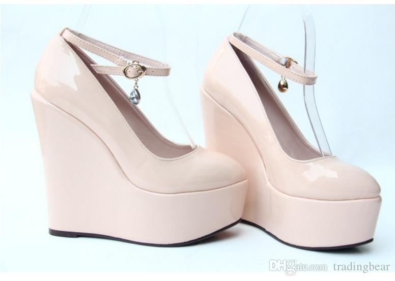 Dostosuj buty ślubne panny młodej 5,5 cm wysokiej platformy Klinki Obuwie Rozmiar 30 do 43
