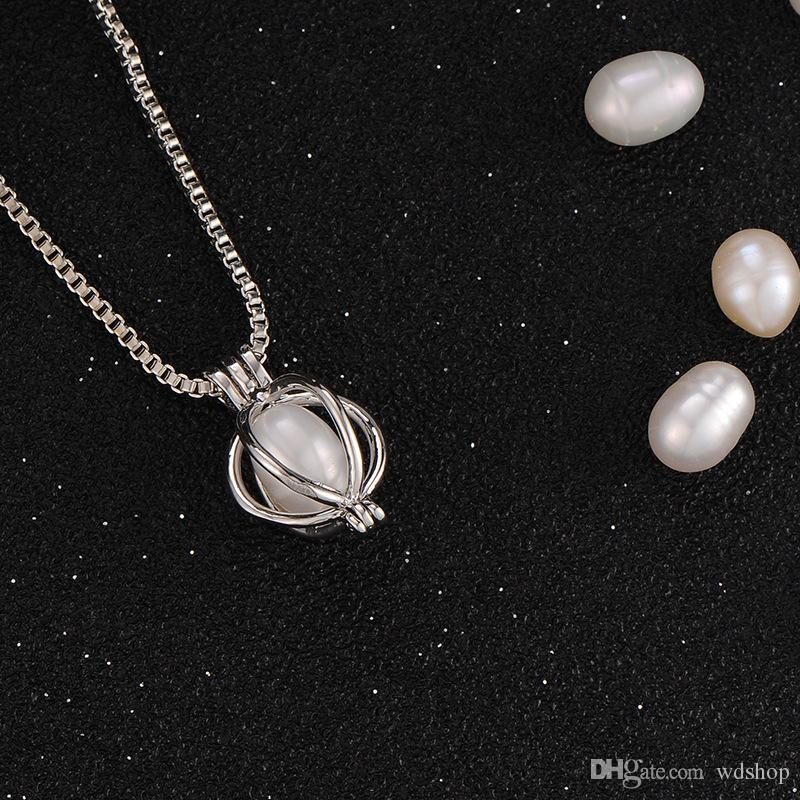 Fashion Oyster Pearl Bead Locket Cage Pendant For Jewelry Bracelet /Necklace Mounting Free 18 Inches Venezia Chain